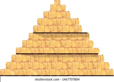 Ancient Egypt pyramid vector cartoon infographic illustration. Cross section pyramid interior with walls of stone or sand blocks. Pharaoh empty tomb, graphic user interface for game design
