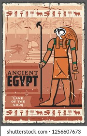Ancient Egypt religion god Horus with sphinx statue and hieroglyphics. Vector man with falcon head, ankh and eye of horus religious symbols, palm, cow and Anubis. Religion, culture and travel theme