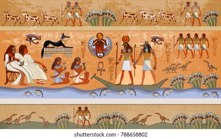 Ancient Egypt scene, mythology. Egyptian gods and pharaohs. Murals hieroglyphic carvings on the exterior walls