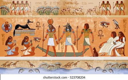 Ancient Egypt scene, mythology. Gods and pharaohs. Hieroglyphic carvings on the exterior walls of an ancient temple. Egypt background. Murals ancient