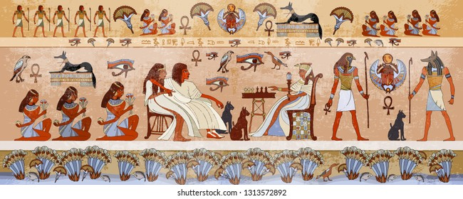 Ancient Egypt scene, mythology.  Hieroglyphic carvings on the exterior walls of an ancient temple. Egyptian gods and pharaohs