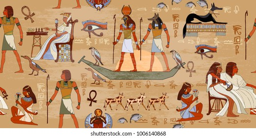 Ancient Egypt seamless pattern. Grunge murals background. Hieroglyphic carvings on the exterior walls of an ancient egyptian pattern. Gods and pharaohs
