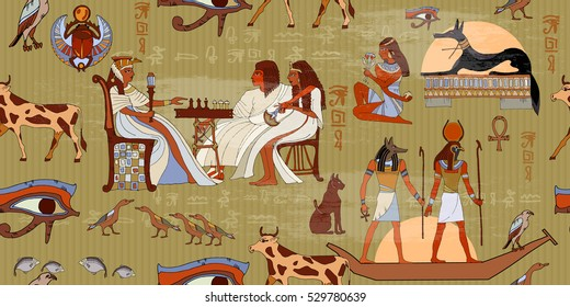 Ancient Egypt seamless pattern. Hieroglyphic carvings on the exterior walls of an ancient pattern. Egyptian gods and pharaohs seamless pattern