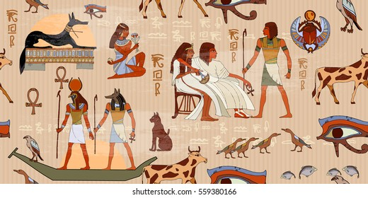 Ancient Egypt seamless pattern. Hieroglyphic carvings on the exterior walls of an ancient egyptian pattern. Egyptian gods and pharaohs. Grunge Egypt seamless murals background