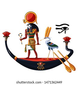 Ancient Egypt sun god Ra or Horus in wooden boat cartoon vector illustration. Egyptian culture religious symbol, ancient god-falcon in night or day boat, sacred ibis bird, isolated on white background