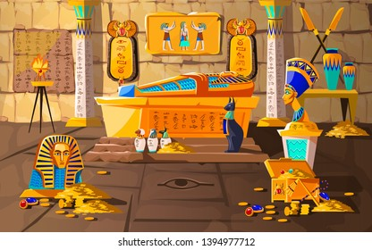 Ancient Egypt tomb of pharaoh cartoons vector illustration. Egyptian pyramid interior with golden sarcophagus, hieroglyphs and mural, scarab beetles, ritual vases and other religious symbols, treasure