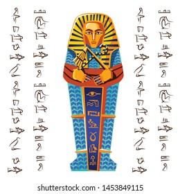 Ancient Egypt vector cartoon illustration. Egyptian culture symbol, golden or stone pharaoh sarcophagus with hieroglyphs, part of religious cult of dead, isolated on white background, top view