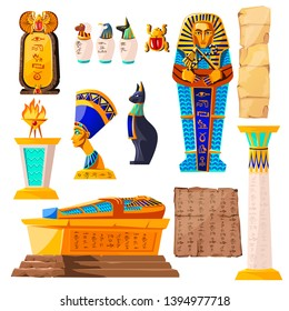 Ancient Egypt vector cartoon set. Egyptian culture symbols collection, golden sarcophagus, religious sacrificial fire, statues of ancient gods and Nefertiti, papyrus with hieroglyphs and scarab beetle