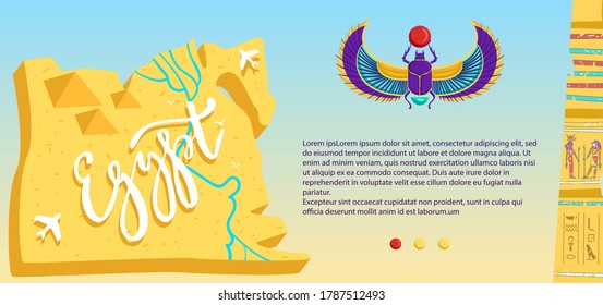 Ancient Egypt vector illustration. Cartoon flat Egyptian scarab, travel map with desert, flying airplane, stone pyramid ruins, cultural archeology landmark and symbols of Egyptians culture banner