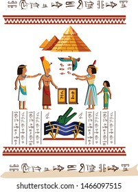 Ancient Egypt wall art or mural element cartoon vector. Monumental painting with hieroglyphs and Egyptian culture symbols, ancient gods, Nile river and human figures, isolated on white