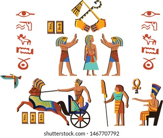 Ancient Egypt wall art or mural element cartoon vector. Monumental painting with hieroglyphs and Egyptian culture symbols, ancient gods, chariot and human figures, isolated on white background