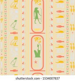 Ancient egypt writing seamless background. Hieroglyphic egyptian language symbols grid. Repeating ethnical fashion pattern for wrapping paper.