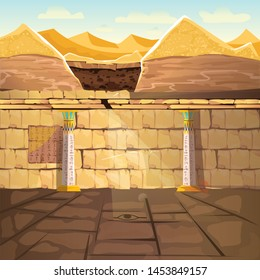 Ancient Egypth, lost looted tomb of pharaoh or abandoned temple interior, underground cartoon vector. Archeological excavations, treasures hunting concept. Desert, dug sand and sunbeam in empty crypt