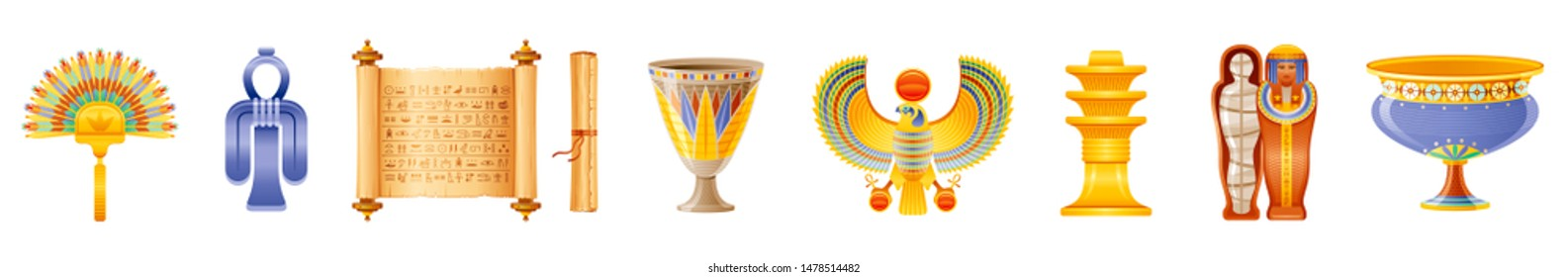 Ancient Egyptian art icon set. God, goddess, pharaoh symbol & amulet. Fan, Isis tyet knot, papyrus scroll, cup, falcon, djed, queen mummy sarcophagus, vase. 3d vector illustration isolated background