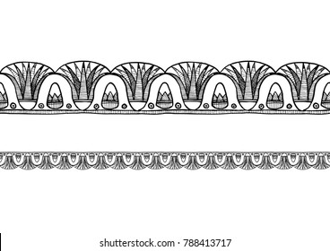 Ancient  Egyptian border ornament with lotus. Horizontal seamless pattern.