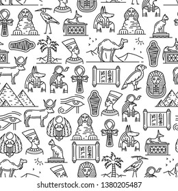 Ancient Egyptian culture and historic symbols seamless pattern. Vector Pharaoh mummy, Cairo Sphinx or Nefertiti and Cheops pyramids, Anubis and Ra deity gods or hieroglyphs and religious signs pattern