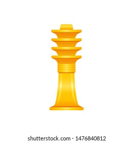 Ancient Egyptian Djed pillar, god pharaoh Osiris symbol. Golden sheaf or reap 3d cartoon icon vector illustration. Old art craft from Egypt. Isolated on white backgroung
