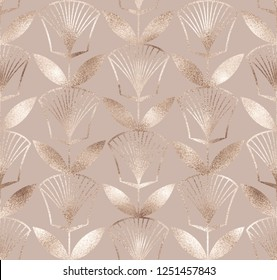 Ancient egyptian floral seamless pattern with gold texture.