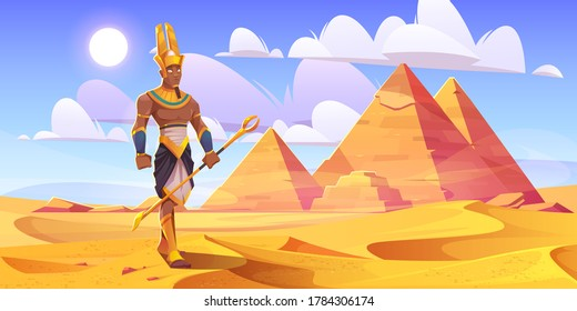 Ancient Egyptian god Amun in desert with pyramids. Vector cartoon illustration of landscape with yellow sand dunes, pharaoh tombs in Egypt and figure of Amon Ra
