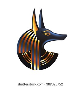Ancient egyptian god Anubis isolated on transparent background, vector illustration