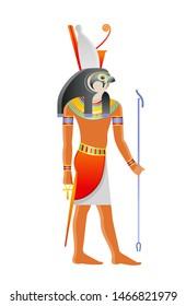 Ancient Egyptian god Horus. Deity with falcon head and pharaoh crown. God from Osiris myth. 3d cartoon vector illustration. Old mural paint art icon from Egypt. Horus bird isolated on white background