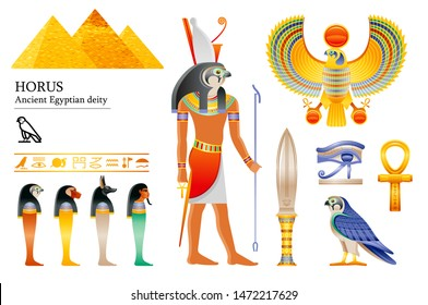 Ancient Egyptian god Horus icon set. Falcon deity, pyramid, dagger, bird, ankh, four sons of Horus, canopic jars, hieroglyph. 3d cartoon vector illustration. Old art & craft. Isolated white background