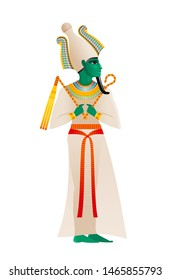 Ancient Egyptian god. Osiris Deity, lord of dead and rebirth with atef crown & green skin. 3d cartoon flat vector illustration. Old mural paint art icon.  Egyptian Osiris isolated on white background