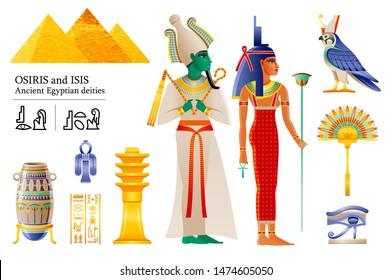 Ancient Egyptian god pharaoh Osiris & goddess Isis icon set. Fan, vase, Djed pillar, knot, Deity Horus falcon, wadjet. 3d cartoon vector illustration. Old art from Egypt. Isolated on white backgroun