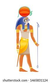 Ancient Egyptian god Ra. Deity of the sun with falcon head, sun disk & cobra decoration. 3d cartoon vector illustration. Old mural paint art icon from Egypt. Ra god isolated on white background