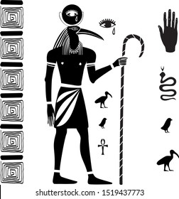The ancient Egyptian god Thoth with the head of an ibis and ancient Egyptian symbols