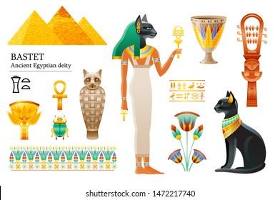Ancient Egyptian goddess Bastet icon set. Cat deity, cup, flower, mummy, sistrum. God of cosmetics, love sex, joy, pregnancy. 3d cartoon vector illustration. Old art & craft. Isolated white background