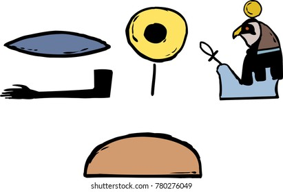 Ancient Egyptian hieroglyphics of Rah and phonetics over isolated white background
