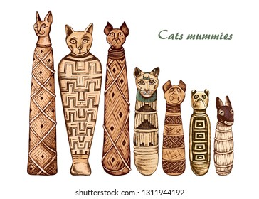 Ancient Egyptian mummies of cats and dog. Mummified animals, wrapped snugly in criss-crossing layers of linen and  graced with smooth cloth mask. Hand drawn vector set. Clipart.