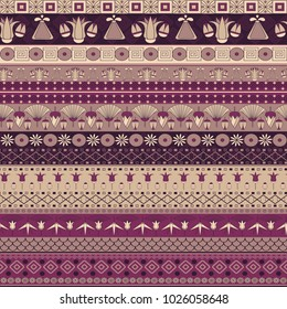 Ancient Egyptian ornament Tribal seamless vector pattern. an be used for cloth, jackets,  invitation, flyers, notebooks, cards, furniture
