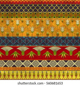 Ancient Egyptian ornament Tribal seamless pattern. ?an be used for cloth, jackets,  invitation, flyers, bags, notebooks, cards, envelopes, pads, blankets, furniture, packing,