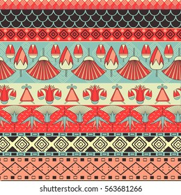 Ancient Egyptian ornament Tribal seamless pattern. It can be used for cloth, jackets, bags, notebooks, cards, envelopes, pads, blankets, furniture, packing