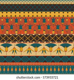 Ancient Egyptian ornament Tribal seamless pattern. Can be used for cloth, jackets, invitation, flyers, bags, notebooks, cards, envelopes, pads, blankets, furniture, packing,