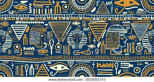 Ancient Egyptian ornament Tribal seamless pattern. Tribal art Egyptian vintage ethnic silhouettes seamless pattern in blue and gold color. Folk abstract repeating background texture. Logo design
