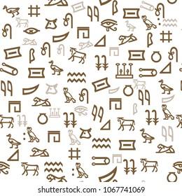 Ancient Egyptian pattern hieroglyphs. Ethnic decoration, history manuscript, mythology and traditional. Vector illustration. Seamless background