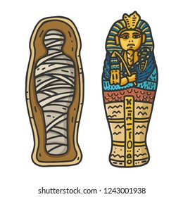 Ancient Egyptian Pharaon Tutankhamun's Sarcophagus with a bandaged Mummy Inside