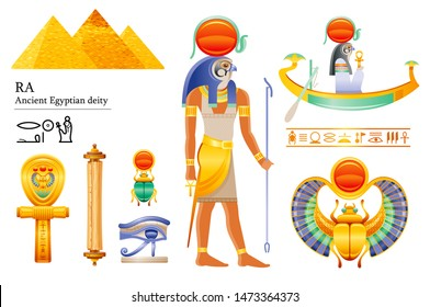Ancient Egyptian Sun god Ra icon set. Falcon sun deity, solar disk, barque, scarab, papyrus scroll, ankh, eye. 3d cartoon vector illustration. Old mural art from Egypt. Isolated on white background