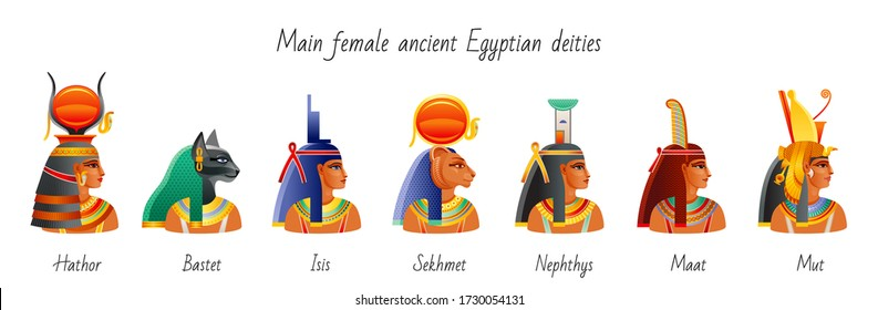 Ancient Egyptian vector with papyrus  element. Pharaoh wife, queen, goddess heads set. Hathor, Bastet, Isis, Sekhmet, Nephthys, Maat, Mut, Nefertiti. Old Mythology historical art collection from Egypt