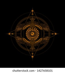 Ancient emblem with flying birds and all seeing eye. Gold sacred geometry on the black background. Esoteric symbol for print t shirt and tattoo art. Vintage stylized compass.