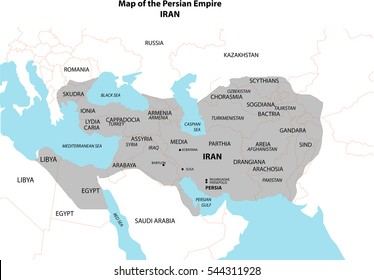 Ancient Empire of great Persia geographical line drawing in perspective on white background.