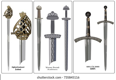 Ancient Europe weapon - set of swords. Viking's sword, sword knights crusaders, broadsword of the highlanders of Scotland, isolated on white, vector illustration