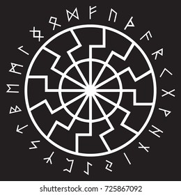 The ancient European esoteric sign - the black sun. Scandinavian runes and ornament, isolated on white, vector illustration