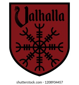 The ancient European esoteric sign - the Helm of Awe, inscription Valhalla and Heraldic shield, isolated on white, vector illustration