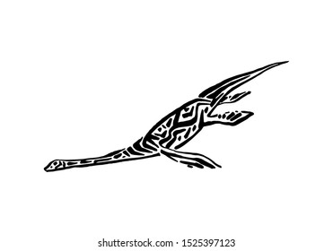 Ancient extinct jurassic plesiosaurus dinosaur vector illustration ink painted, hand drawn grunge prehistoric aquatic reptile, black isolated silhouette on white background.