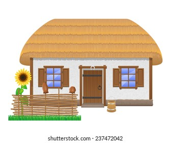 ancient farmhouse with a thatched roof vector illustration isolated on white background