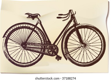 "Ancient ""feminine"" bicycle in illustration with time-worn effect of old etching"